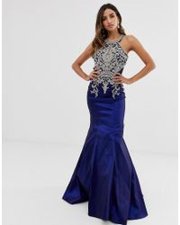 Jovani - Fishtail Maxi Dress With Embellished Detail - Lyst
