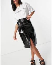 NA-KD Slit Front Paperbag Waist Pu Midi Skirt - Black