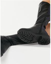 New Look Черные Высокие Ботинки На Массивной Подошве Из Эластичной Искусственной Кожи -черный
