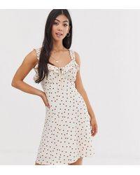9201ca9cb River Island Plus Brown Polka Dot Cap Sleeve Wrap Dress in Brown - Lyst