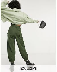Collusion Unisex - Pantaloni stile militare kaki - Verde