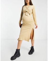 Missguided - Светло-коричневое Платье Мидакси С Поясом -коричневый - Lyst