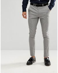New Look Skinny Fit Suit Trousers In Grey Houndstooth - Black