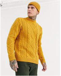 ASOS Heavyweight Cable Knit Turtle Neck Jumper - Yellow