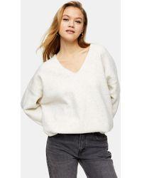 TOPSHOP Jersey largo color marfil con cuello - Blanco