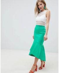 ASOS - Design Scuba Pencil Midi Skirt With Ruffle Detail - Lyst