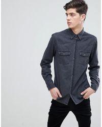Mango - Man Slim Fit Denim Shirt In Gray - Lyst