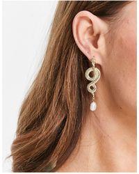 TOPSHOP Snake Drop Earrings - Metallic