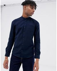 Tom Tailor - Slim-fit Overhemd Met Wafeltextuur In Marineblauw - Lyst