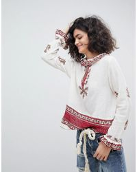 INTROPIA - Ruffle Collar Embroidered Blouse - Lyst