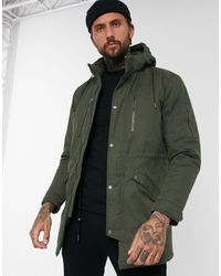 Only & Sons Parka With Zip Detail - Green