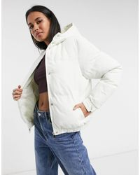 Brave Soul Fernie Hooded Puffer Jacket With Hood - White