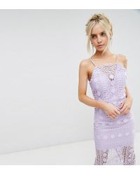 Chi Chi London - High Neck Lace Midi Dress With V Back - Lyst