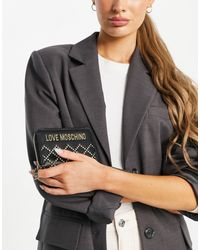 Love Moschino Doorgestikte Portemonnee - Zwart