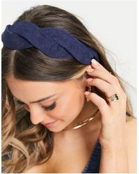 ASOS Geschulpte Gevlochten Haarband Van Geribbeld Fluweel - Blauw