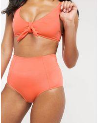 Monki Recycled Polyester High Waist Bikini Brief - Pink