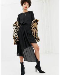 NA-KD Vestito nero con drappeggio asimmetrico