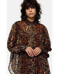 TOPSHOP Animal Print Flocked Oversized Blouse - Brown