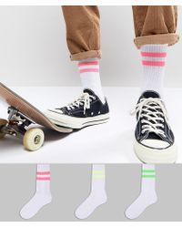 ASOS - Sports Style Socks With Neon Stripes 3 Pack - Lyst
