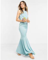 Oasis Bridesmaid Bardot Slinky Maxi Dress Inpale - Green
