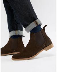 ASOS – Chelsea-Stiefel aus braunem Wildleder mit Natursohle