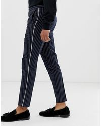 Burton Slim Trousers In Navy Pinstripe - Blue