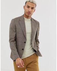 ASOS Casual Slim-fit Blazer In Bruin Geruit