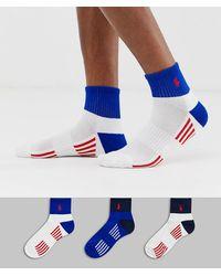Polo Ralph Lauren Set Van 3 Sportsokken Met Polospeler In Wit/wit/koningsblauw/rood