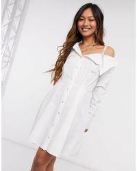 River Island Белое Платье-рубашка Мини На Одно Плечо Со Стразами -белый