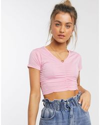 Daisy Street Fitted Top With Ruching Detail - Pink