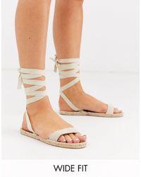 ASOS Wide Fit Juniper Espadrille Flat Sandals - Natural