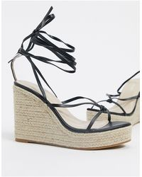 Glamorous Espadrille Wedge Sandal With Ankle Tie - Black
