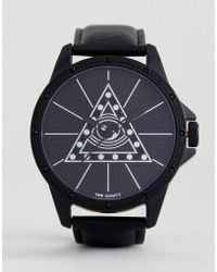 ASOS - Oversized Monochrome Watch With Eye Design And Crystals - Lyst