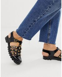 b5413dd2c ASOS Fisherman Sandals In Black Leather With Tassel in Black - Lyst
