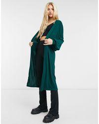 Noisy May Longline Cardigan With Volume Sleeve - Green