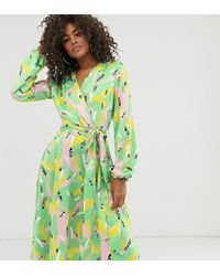 Flounce London Satin Wrap Midi Dress In Abstract Stroke Print - Green