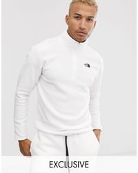 The North Face 100 Glacier - Polaire à fermeture éclair 1/4 exclusivité ASOS - Blanc