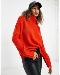 Brave Soul Tangin Roll Neck Sweater - Orange