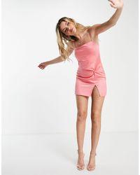 TOPSHOP Vestito sottoveste con scollo squadrato e incrocio, colore rosa