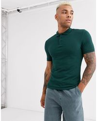 ASOS Organic Muscle Fit Pique Polo - Green