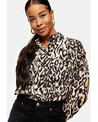 TOPSHOP - Animal Dramatic Sleeve Blouse - Lyst
