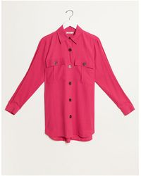 Stradivarius Twill Overshirt - Pink