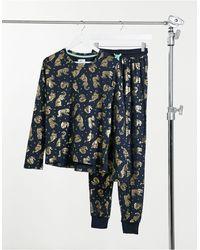 Chelsea Peers Lange Pyjamaset Met Tijgers Van Eco-poly Folie - Blauw