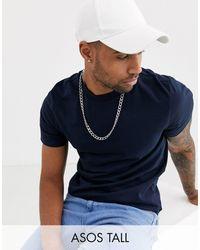 ASOS Camiseta en azul marino en tejido orgánico con cuello redondo