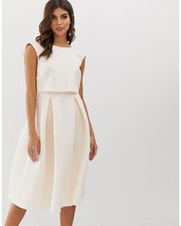 ASOS Fold Back Crop Top Midi Prom Dress - White