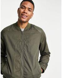 Bolongaro Trevor - Куртка-бомбер Из Саржи С Вставками На Плечах Из Искусственной Кожи -зеленый Цвет - Lyst
