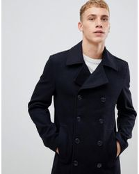 Solid - Peacoat In Navy With Wool Mix - Lyst