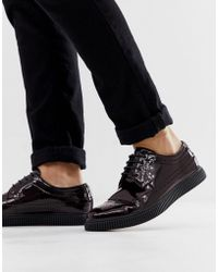 ASOS Creeper Brogue Shoes In Burgundy Patent - Red