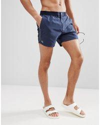 Lacoste - Stripe Side Logo Swim Shorts In Navy - Lyst