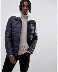 Antony Morato - Quilted Jacket In Navy With Borg Collar - Lyst